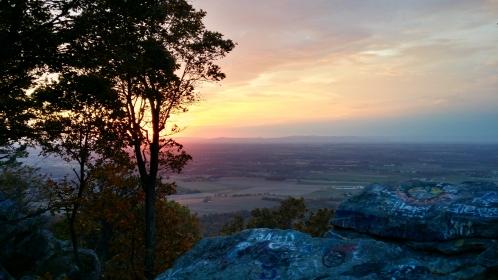 Sunset view facing southwest towards Washington County, Maryland.
