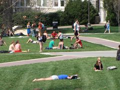 Students relax on the Quad.