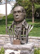 Bust of James Madison, displayed on the Commons. This bust was formerly displayed adjacent to the entrance to Carrier Library.