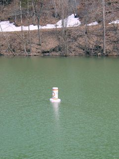 Since this area is intended for boating, the area is marked with a circle on the buoys, meaning no swimming.