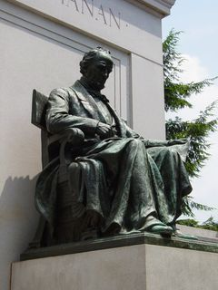 South of the statue of Dante is a memorial to our fifteenth president, James Buchanan, with the statue of Buchanan flanked by classical figures.
