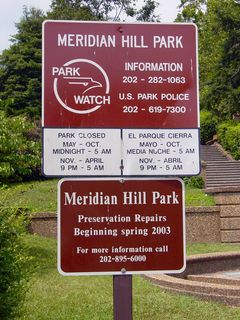 """On signage at entrances to the park, the """"Meridian Hill Park"""" name is used, as it is the official name, with no mention of the """"Malcolm X Park"""" name."""