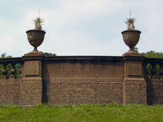 And finally, at the very bottom of the park, the outside of the retaining wall and the planters contained on top of it can be seen.
