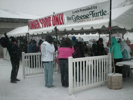 Tent serving lunch for plunge participants.