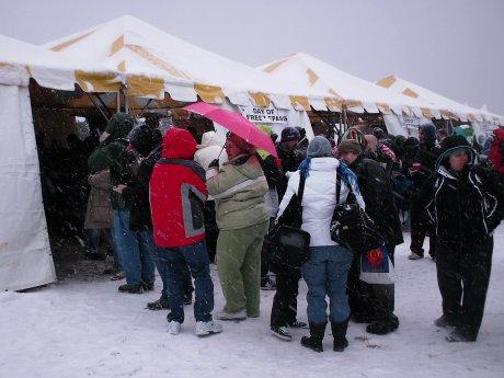 Registration tents.