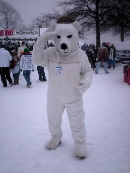 A person salutes while wearing a polar bear costume.