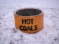 Receptacle for disposal of hot coals. It was almost like a cruel trick on this cold, snowy day, as hot coals would certainly have been welcome for warming up cold hands.