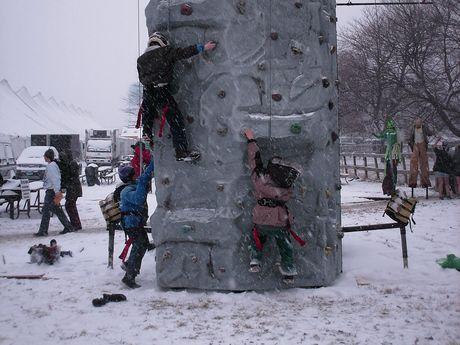 Rock climbing wall, near the park entrance.