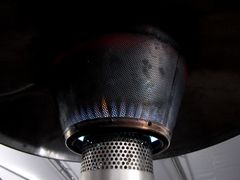 Large gas heating unit in the sweatshirt tent - very convenient for warming hands and drying out wet gloves and hats.