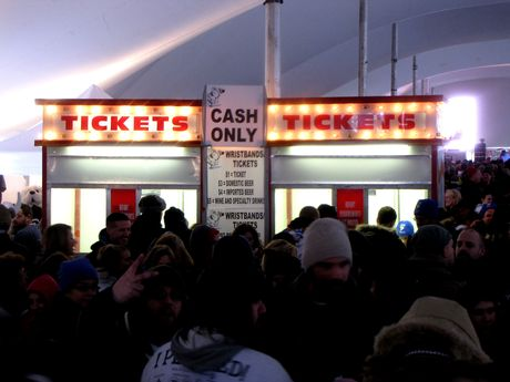 The beer tent, a popular place for people to go ahead of the plunge.