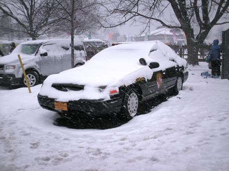 Maryland State Police Crown Victoria covered in the several inches of snow which fell during the event. The 2010 Maryland Polar Bear Plunge did indeed occur during a full-on snowstorm!