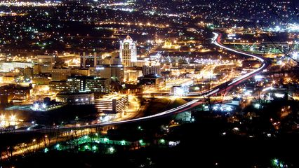 Looking down from the observation deck, downtown Roanoke is alive and well, and traffic is flowing along Interstate 581.