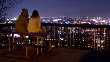 While I was photographing in the park, a couple came and had a seat on the picnic bench on the observation deck. The couple sat completely motionless on the deck, enjoying the scenery below, as well as each other's company.