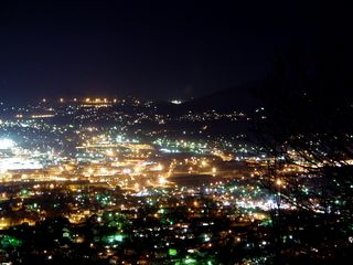 The city of Roanoke, as seen from the lower observation deck of Mill Mountain Park, is always a beautiful sight, though especially so at night, when all the lights become bright.