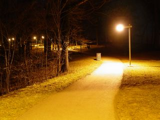 Meanwhile, within the park, lampposts light the way to both the lower parking lot (left) and also on the way up to the star.