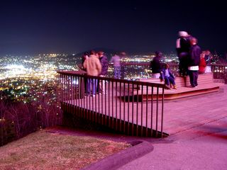 Despite the cold, the observation deck was abuzz with people, out enjoying a beautiful view.