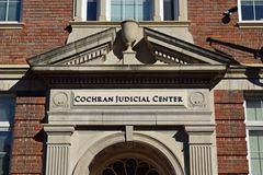 Pediment over the entrance to the George M. Cochran Judicial Center, which houses the city courts for Staunton, Virginia.