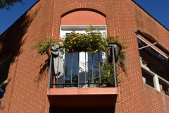 Balcony on the Central Place building, overlooking the Downtown Mall in Charlottesville, Virginia.
