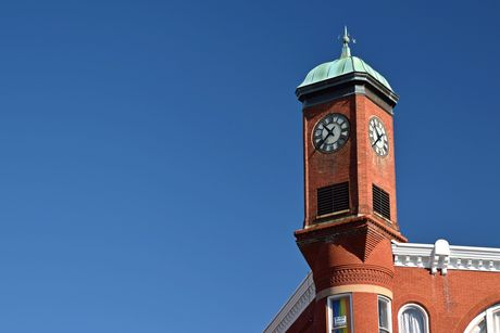 The Clock Tower, over the intersection of East Beverley Street and North Central Avenue in downtown Staunton, Virginia.
