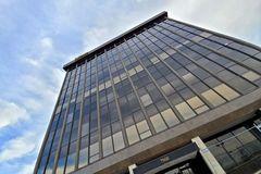 East facade of 7900 Sudley Road, an office building in Manassas, Virginia.