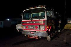 Vintage Mack Ranger fire truck at the Verona Volunteer Fire Company in Verona, Virginia.