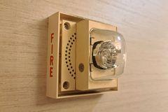 White Faraday fire alarm speaker/strobe at Hotel 24 South in downtown Staunton, Virginia.