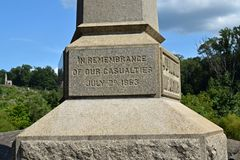 Obelisk at Devil's Den in remembrance of the casualties experienced by the 4th Maine Infantry during the Battle of Gettysburg on July 2, 1863.