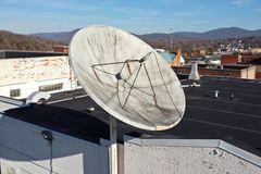 Satellite dish on the roof of the former News Virginian building, at 544 West Main Street in Waynesboro, Virginia.