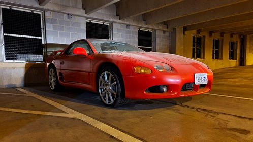 Mitsubishi 3000GT sports car parked in the New Street parking garage in downtown Staunton, Virginia.