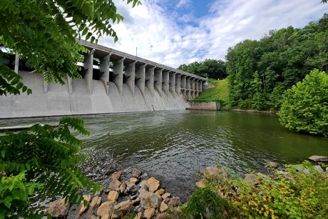 Brighton Dam, which impounds the Patuxent River to form Triadelphia Reservoir.