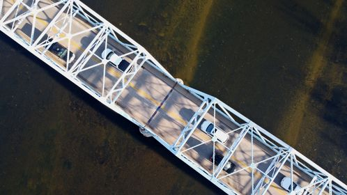 Overhead view of the Point of Rocks Bridge, which carries US Route 15 over the Potomac River between Loudoun County, Virginia and Frederick County, Maryland.