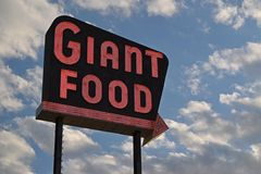 Vintage neon sign for the Giant Food store at Laurel Shopping Center in Laurel, Maryland.