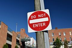 """""""DO NOT ENTER"""" sign at the intersection of North Central Avenue and West Johnson Street in downtown Staunton, Virginia."""