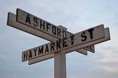 Temporary street signs at the intersection of Ashford Circle and Haymarket Street in Fredericksburg, Virginia, in an area being developed for housing.
