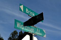 Street signs at the intersection of Brink and Wightman Roads near Montgomery Village, Maryland.