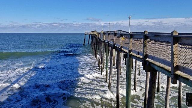 Ocean City Fishing Pier, viewed from halfway down the pier.