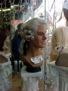 ...and styles less commonly worn. To me, this mannequin looks a bit like Virginia Governor Mark Warner, wearing George Washington's hair.