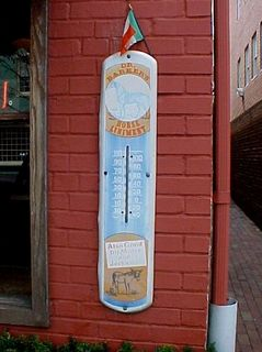 And as we continue our walk, we pass this vintage thermometer, advertising Dr. Barker's Horse Liniment.