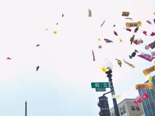 Candy flies through the air as the Dora the Explorer piñata is broken.