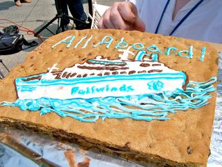 A cookie cake contains an image of the MV Freewinds, relabeled as the Failwinds.