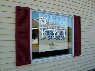 This sign, advertising leasing opportunities in the Outlet Village, was located in a window in Building 11. I found this sign to be somewhat amusing, considering that the Outlet Village's fate was nearly sealed at the time this photo set was made.