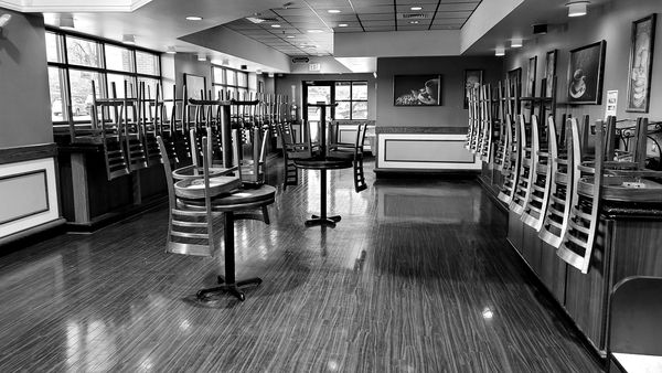 Closed dining area at the Harris Teeter grocery store in Olney, Maryland, brought on by a recently-imposed ban on indoor dining.