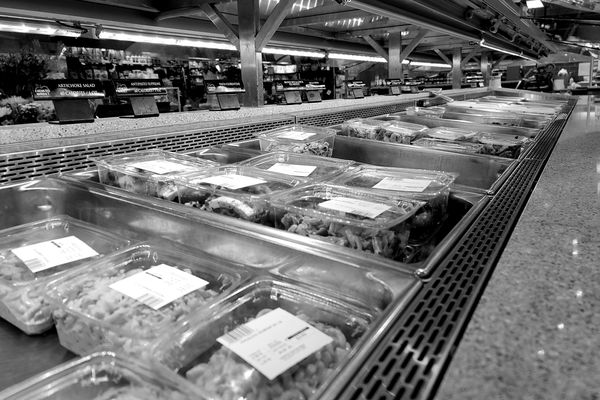 Prepackaged foods for sale in what would normally have been a self-service food bar at the Harris Teeter grocery store in Ellicott City, Maryland.
