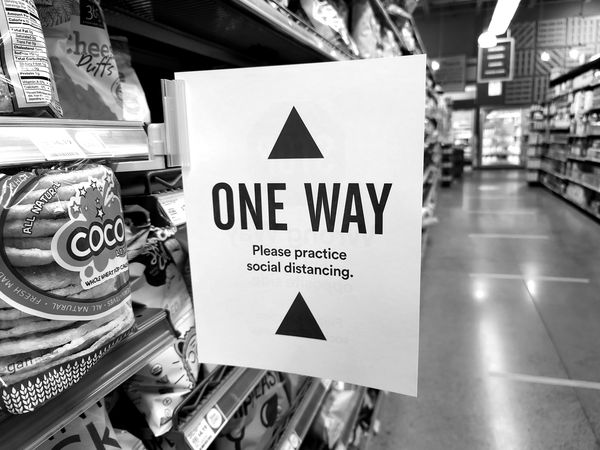 One-way traffic sign in an aisle at Whole Foods Market in Ashburn, Virginia.