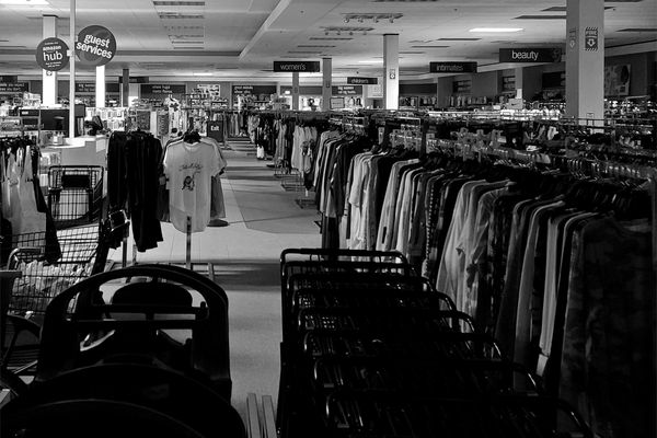 """Interior of the Gordmans store in Waynesboro, Pennsylvania, during a time that the store would otherwise have been open, if not for its mandated closure as a """"non-essential"""" business in the early months of the COVID-19 pandemic."""