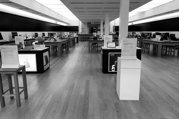 Microsoft Store at Tysons Corner Center in McLean, Virginia. All Microsoft Store locations closed at the beginning of the pandemic, and most never reopened when lockdown orders were lifted.