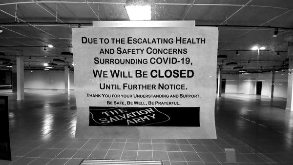 Sign announcing the pandemic-related closure of the Salvation Army thrift store in Rockville, Maryland. The store would never reopen at this location due to matters unrelated to the pandemic, resuming business in a new location down the road.