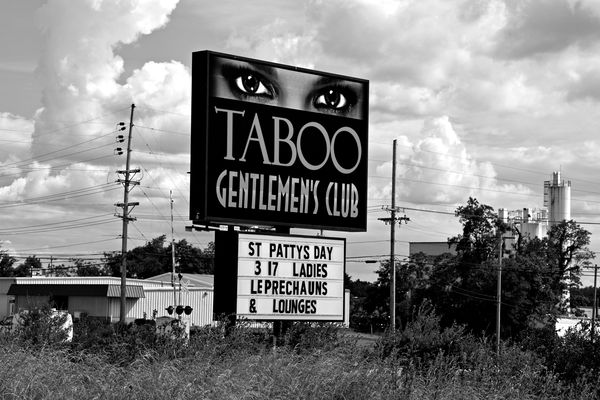 Sign for Taboo Gentlemen's Club, an adult entertainment venue in Martinsburg, West Virginia in June 2020, still advertising for events that had been planned for March, but never took place due to lockdown orders that forced the establishment to close.