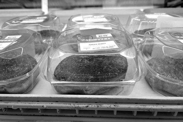Donuts individually packaged in clamshell containers at the Shoppers Food store in Laurel, Maryland.