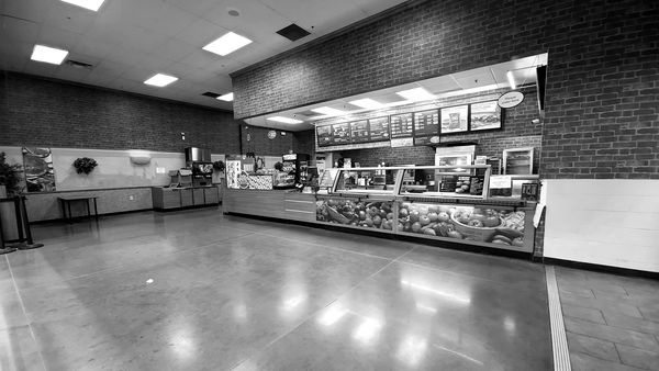 Subway restaurant at a Walmart Supercenter in Massaponax, Virginia, with all of the tables removed due to a ban on indoor dining in place at the time.